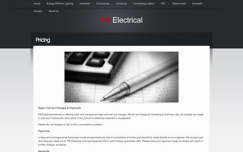 Screenshot of Pricing Page pb-elec.co.uk - Pricing «  PB Electrical - captured Oct. 27, 2014