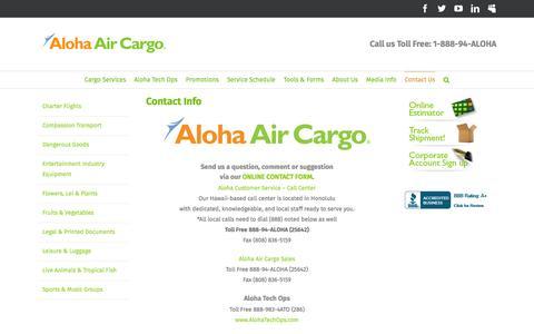 Screenshot of Contact Page Hours Page alohaaircargo.com - Contact Info – Aloha Air Cargo - captured July 25, 2016