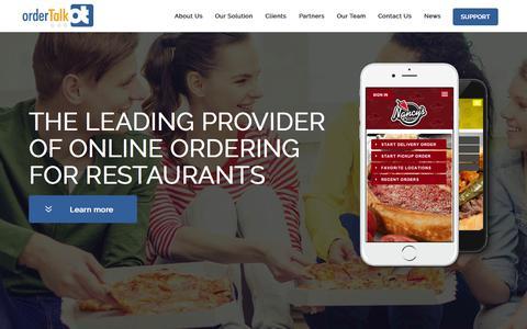 Screenshot of Home Page ordertalk.com - orderTalk Restaurant Online Ordering - captured Aug. 11, 2015