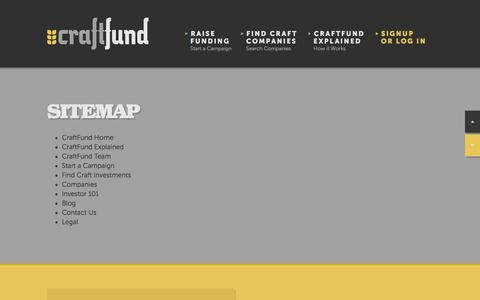 Screenshot of Site Map Page craftfund.com - CraftFund | Crowdfunding for the Craft Beer & Craft Food Communities - captured Feb. 1, 2016