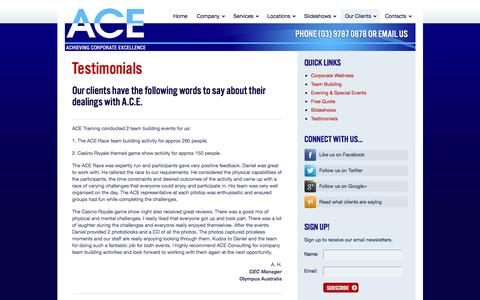 Screenshot of Testimonials Page acetraining.com.au - A.C.E. Training - ACE Client Testimonials | A.C.E. - captured Nov. 16, 2016