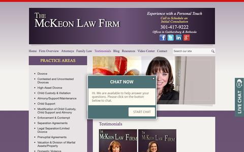 Screenshot of Testimonials Page mckeonlawfirm.com - Testimonials | The McKeon Law Firm | Gaithersburg, Maryland - captured Oct. 20, 2018
