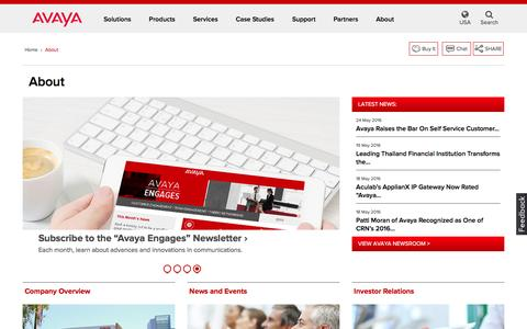 Screenshot of About Page avaya.com - About Avaya - News, Careers, Contacts & More - Avaya USA - captured May 29, 2016