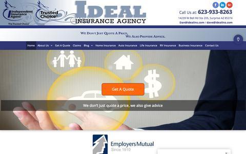 Screenshot of Home Page idealins.com - Home, Auto, Life & Business Insurance - Surprise, AZ - Ideal Insurance Agency - captured Oct. 1, 2018