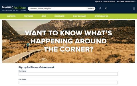 Screenshot of Signup Page bivouac.co.nz - Sign up for Bivouac Outdoor emails - offers, events & cool new gear - captured Jan. 27, 2020