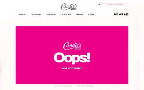 Screenshot of Signup Page candies.com - 404 – Candie's - captured June 8, 2016