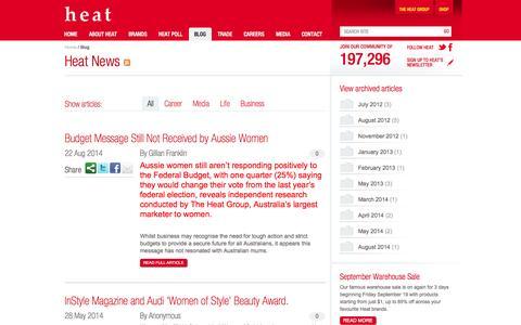 Screenshot of Blog heatgroup.com.au - Heat News   Heat Group - captured Sept. 29, 2014