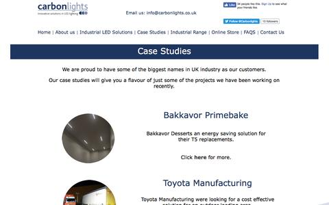 Screenshot of Case Studies Page carbonlights.co.uk - Case Studies show how carbonlights perform - captured May 9, 2017
