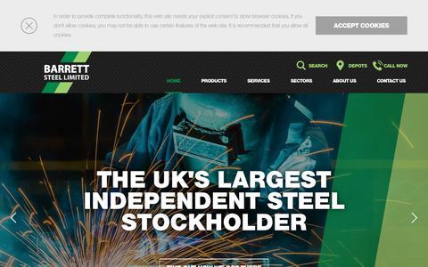 Screenshot of Home Page barrettsteel.com - Steel suppliers and steel stockholders - Barrett Steel - captured Nov. 13, 2018