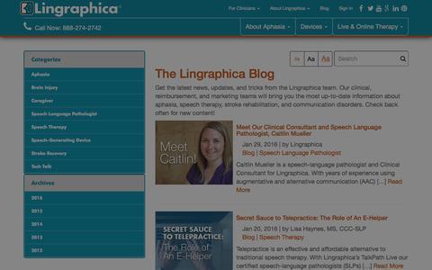 Screenshot of Blog aphasia.com - Lingraphica Blog l Speech and Language Topics Lingraphica - captured Jan. 30, 2016