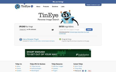 Screenshot of Home Page tineye.com - TinEye Reverse Image Search - captured Sept. 18, 2014