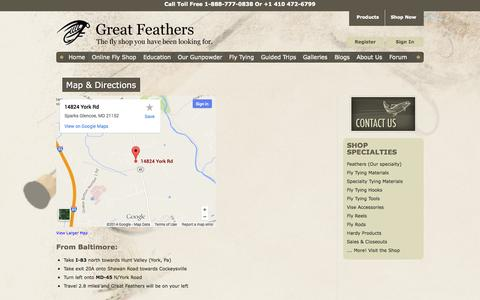 Screenshot of Maps & Directions Page greatfeathers.com - Great Feathers location and direction from PA DE DC - captured Oct. 3, 2014