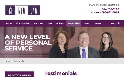 Screenshot of Testimonials Page newlawoffice.com - Testimonials | Stephen P. New, Attorney at Law | Beckley, West Virginia - captured Nov. 16, 2018