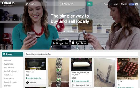 Screenshot of Home Page offerupnow.com - OfferUp - buy. sell. simple. - captured Nov. 4, 2015