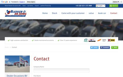 Screenshot of Contact Page dealeroccasions.eu - Dealer Cars BV |  Dealer Occasions BV - captured Oct. 10, 2017