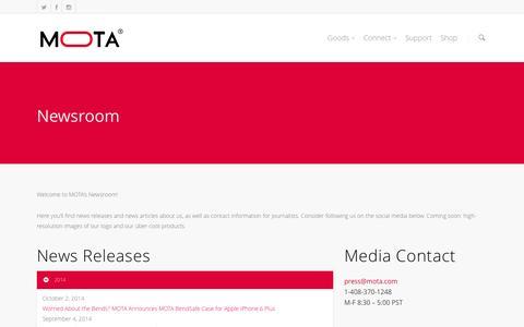 Screenshot of Press Page mota.com - Newsroom    MOTA - captured Nov. 2, 2014