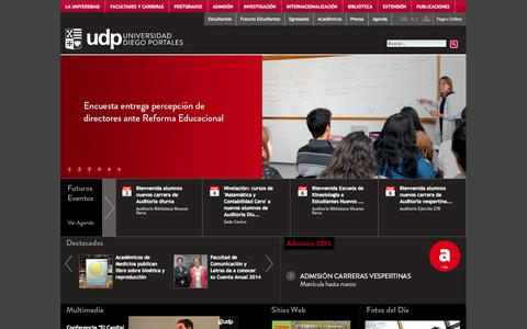 Screenshot of Home Page udp.cl - Universidad Diego Portales - captured Jan. 26, 2015