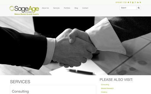 Screenshot of Services Page sageagestrategies.com - Services | Sage Age Strategies - captured Oct. 29, 2014