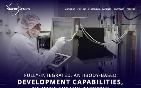 Screenshot of Home Page macrogenics.com - Homepage - captured Feb. 2, 2016