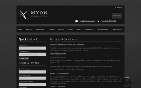 Screenshot of Terms Page myonclub.co.uk - Terms and Conditions | Myon Members Club - captured Oct. 26, 2014