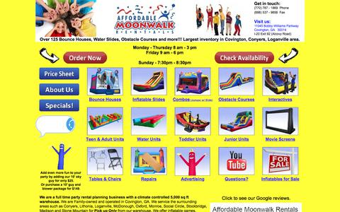 Screenshot of Home Page affordablemoonwalk.com - Affordable Moonwalk Rentals, Inc.- $135 Weekend Special - Covington - captured Sept. 22, 2018