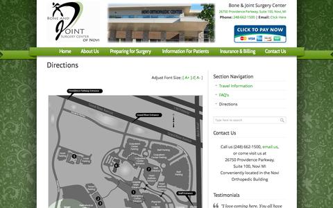 Screenshot of Maps & Directions Page ascnovi.com - Directions «  Bone and Joint Surgery Center of Novi - captured Oct. 3, 2014