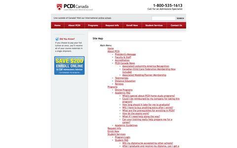 Screenshot of Site Map Page pcdi.ca - PCDI Canada - captured Sept. 19, 2014