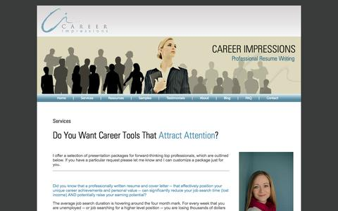 Screenshot of Services Page careerimpressions.ca - Career Impressions   Canadian Resume Writing   Canadian Executive Resume Writer   Calgary Resume Writer - captured Sept. 30, 2014