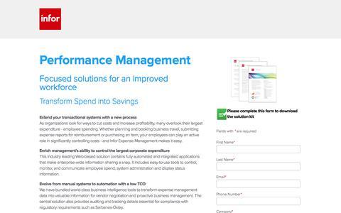 Screenshot of Landing Page infor.com - Infor Expense Management software - Download Free Solution Kit - captured Dec. 15, 2015