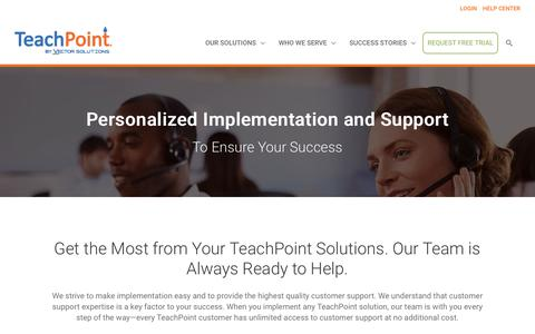 Screenshot of Support Page goteachpoint.com - TeachPoint Implementation and Customer Support - captured Oct. 19, 2018