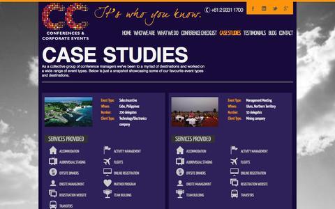 Screenshot of Case Studies Page ccconferences.com.au - Case Studies - CC Conferences Organisers Sydney - captured Oct. 1, 2014