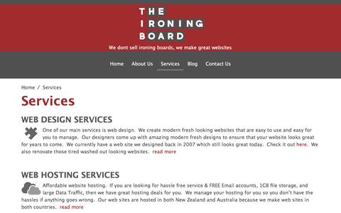 Screenshot of Services Page theironingboard.co.nz - Services - The Ironing Board - captured Dec. 16, 2016