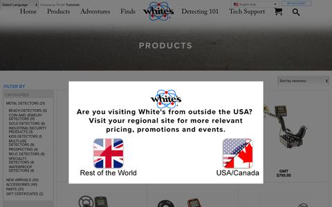 Screenshot of Products Page whiteselectronics.com - Whites Electronics | Metal Detectors Archives - Whites Electronics - captured June 10, 2018