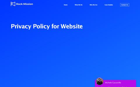 Screenshot of Privacy Page rockmission.co.uk - Privacy Policy for Website – Rock Mission - captured Nov. 3, 2018