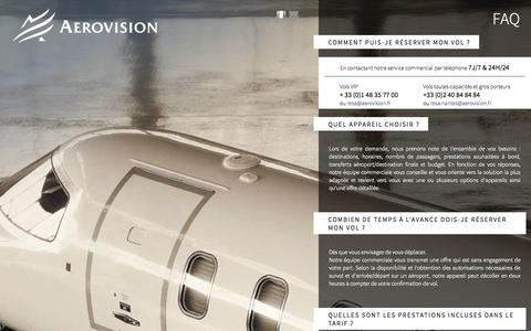 Screenshot of FAQ Page aerovision.fr - Faq - AEROVISION - Location Jets Privés, avions-taxis & vols charters toutes capacités – Paris-Le Bourget / Nantes-Atlantique / Toulouse-Blagnac - captured Sept. 25, 2014