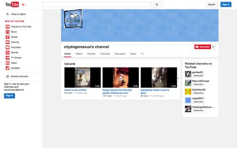 Screenshot of YouTube Page youtube.com - citydogsrescue's channel  - YouTube - captured Oct. 23, 2014