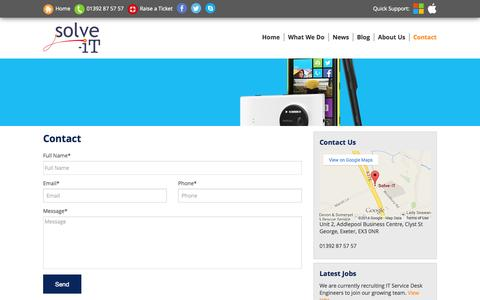 Screenshot of Contact Page solve.uk.com - Contact - Cloud Support Services   IT Support   Microsoft Office 365 - Solve IT - captured Oct. 8, 2014