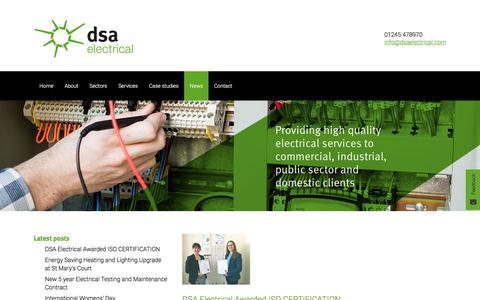 Screenshot of Press Page dsaelectrical.com - News • DSA Electrical - captured Aug. 5, 2018