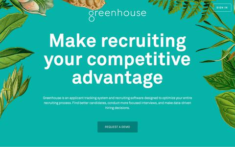 Screenshot of Home Page greenhouse.io - Recruiting Software & Applicant Tracking System | Greenhouse - captured Feb. 6, 2018