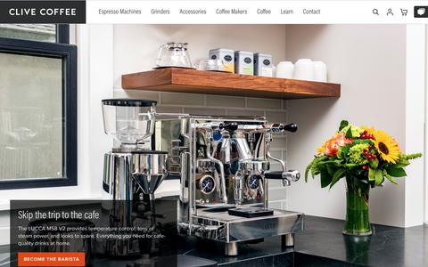 Screenshot of Home Page clivecoffee.com - Clive Coffee - Beautiful Espresso at Home - captured March 14, 2019