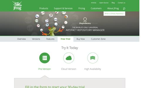 Screenshot of Trial Page jfrog.com - Website Free Trial - Managing your binaries - captured Oct. 26, 2015