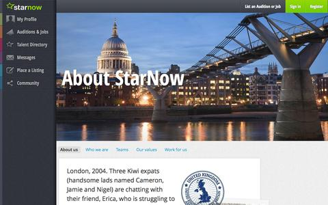 Screenshot of About Page starnow.com - About Us | StarNow - captured Sept. 23, 2014