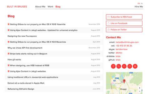 Screenshot of Blog builtinbruges.com - Blog — Built In Bruges - captured July 31, 2016