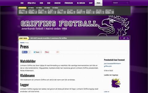 Screenshot of Press Page limhamn-griffins.com - Press - Griffins Football - captured Sept. 30, 2014