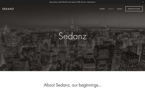 Screenshot of About Page sedanz.com - About Sedanz NYC transportation Services — Sedanz - captured May 28, 2017