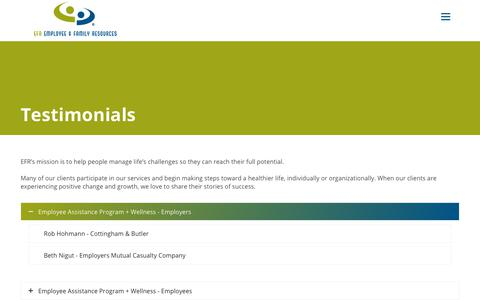 Screenshot of Testimonials Page efr.org - Testimonials - Employee & Family Resources - captured Nov. 10, 2018