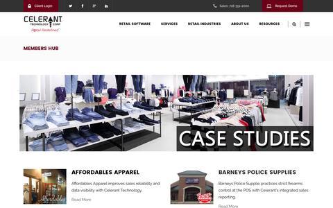 Screenshot of Case Studies Page celerant.com - Members HUB - Celerant Technology - captured Jan. 7, 2017