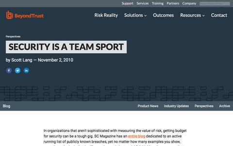 Screenshot of Team Page beyondtrust.com - Security is a Team Sport | BeyondTrust - captured Jan. 3, 2020