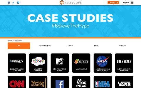 Screenshot of Case Studies Page telescope.tv - Case Studies | Social & Play Along TV, Mobile Voting & Polling, Interactive TV Solutions, Real-Time Consumer & Audience Engagement - captured Aug. 13, 2016