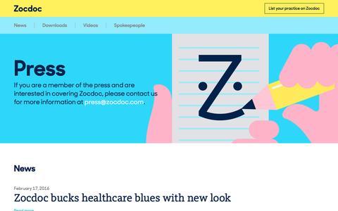 Screenshot of Press Page zocdoc.com - Press – Zocdoc - captured March 11, 2016